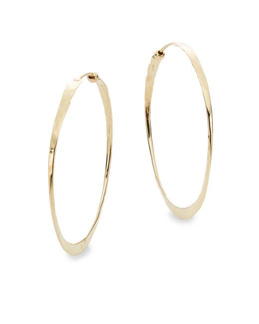 Saks Fifth Avenue | Metallic 14k Yellow Gold Hammered Hoop Earrings | Lyst