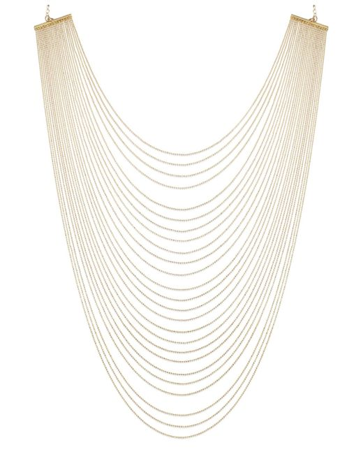 ABS By Allen Schwartz | Metallic Gold-tone Multirow Necklace | Lyst
