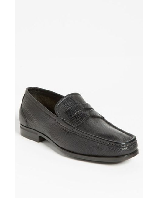 Santoni | Black 'tucker' Penny Loafer for Men | Lyst