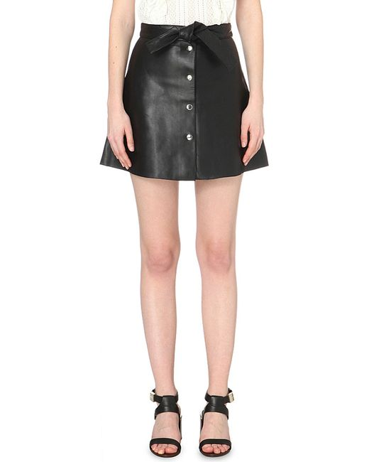 maje janka belted leather mini skirt in black save 51