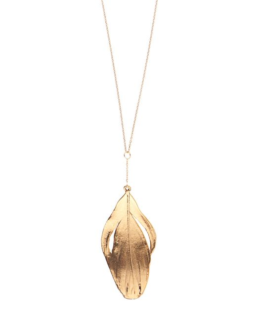Aurelie Bidermann | Metallic Swan-feather Yellow-gold Necklace | Lyst
