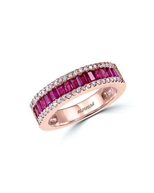 Effy | Pink Amore Diamond, Ruby And 14k Rose Gold Ring | Lyst
