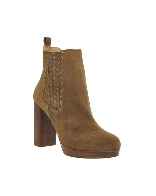 office indeed platform chelsea boots in brown taupe
