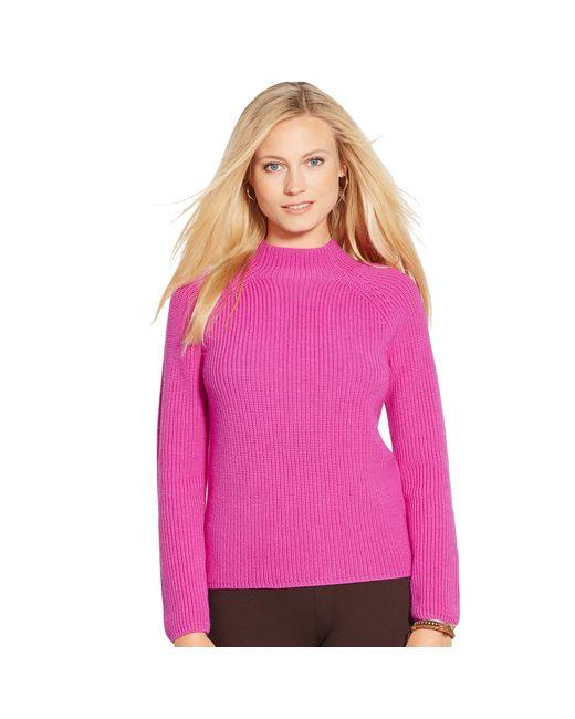 Ralph Lauren   Pink Rib-knit Funnelneck Sweater   Lyst
