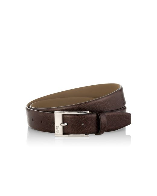 HUGO | Brown Pin-buckle Belt In Grained Leather for Men | Lyst