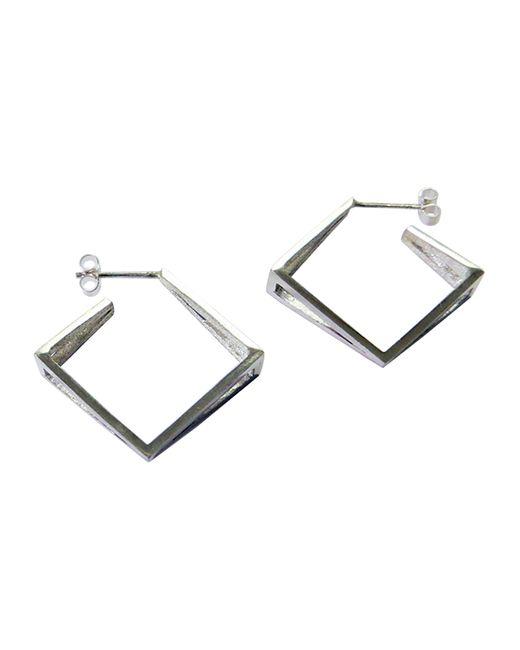 Stephanie Bates | Metallic Med Silver Kite Hoop Earrings | Lyst
