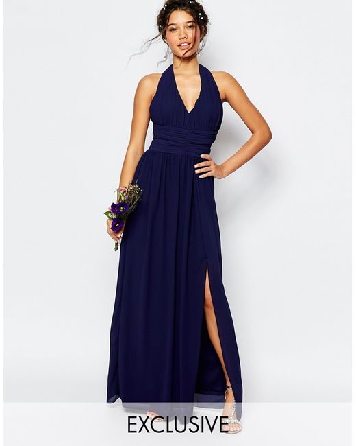 Tfnc london wedding halter chiffon maxi dress in blue lyst for Navy blue maxi dress for wedding