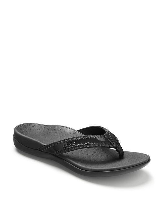 Vionic Tide Ii Leather Flip Flops In Black  Lyst-8037
