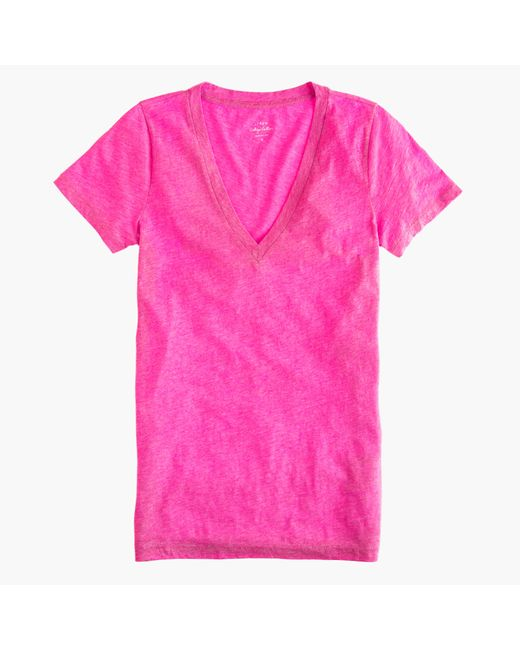 J.Crew | Red Vintage Cotton V-neck T-shirt | Lyst