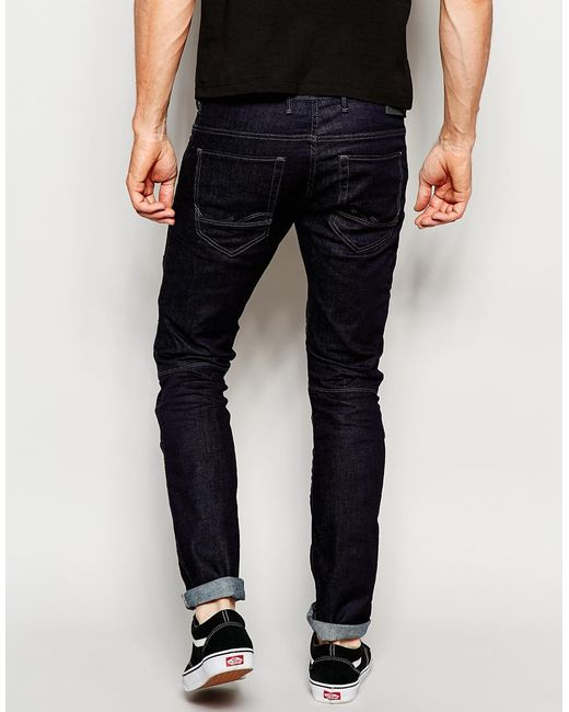 jack jones rinse wash jeans in slim fit with panels in blue for men. Black Bedroom Furniture Sets. Home Design Ideas