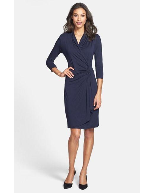 Karen Kane | Blue Three-quarter Sleeve Cascade Faux Wrap Dress | Lyst
