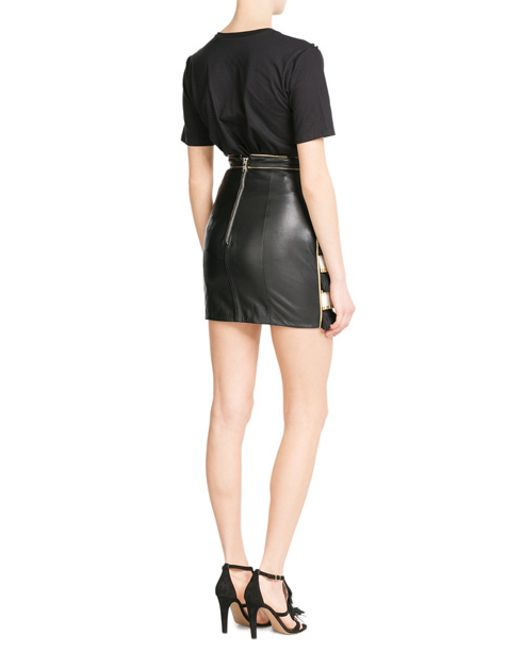 balmain embroidered leather skirt black in blue lyst