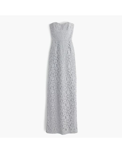 J.Crew | Gray Natasha Long Dress In Leavers Lace | Lyst