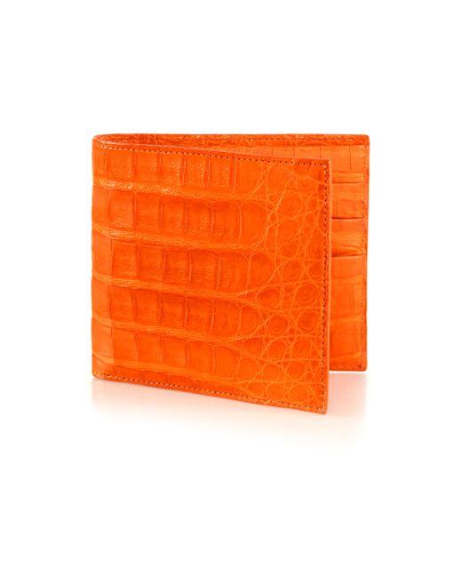 Santiago Gonzalez   Orange Crocodile Billfold Wallet for Men   Lyst