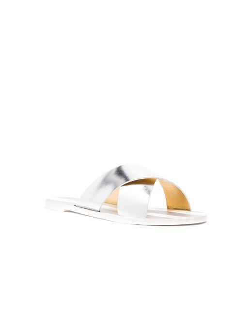 Avec Moderation | Silver Stripes Criss Cross Sandal | Lyst