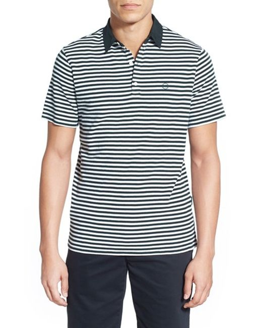 AG Jeans | Green 'pico' Stripe Pima Cotton Polo for Men | Lyst