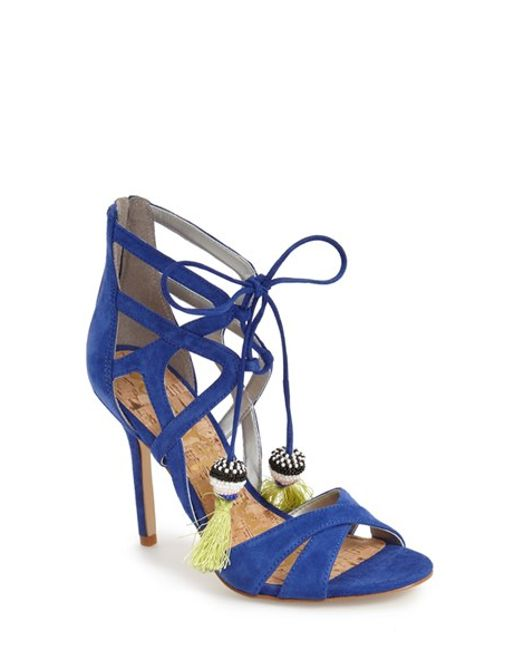 Sam Edelman Azela Tassel Lace Up Sandal In Blue Sailor