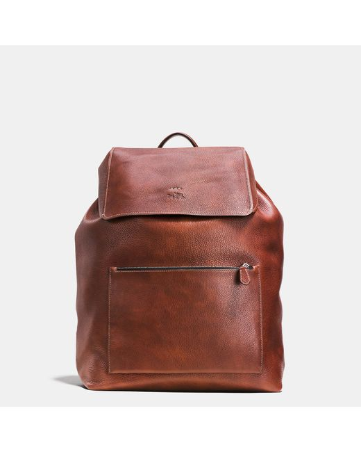 coach large manhattan backpack in pebble leather in brown cognac lyst. Black Bedroom Furniture Sets. Home Design Ideas