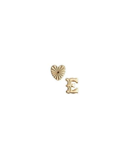 Bing Bang | Metallic Initial Heart Duo Studs | Lyst