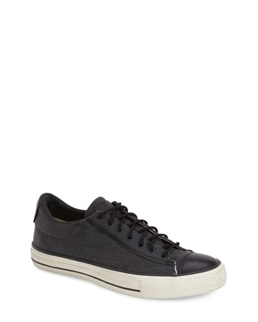 Converse | Black Chuck Taylor All Star Canvas and Leather Low-Top Sneakers for Men | Lyst