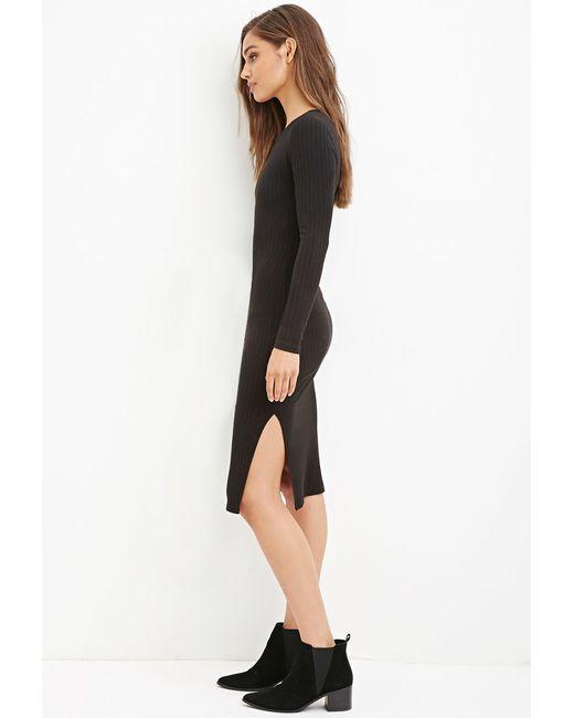 Forever 21   Black Ribbed Bodycon Midi Dress   Lyst