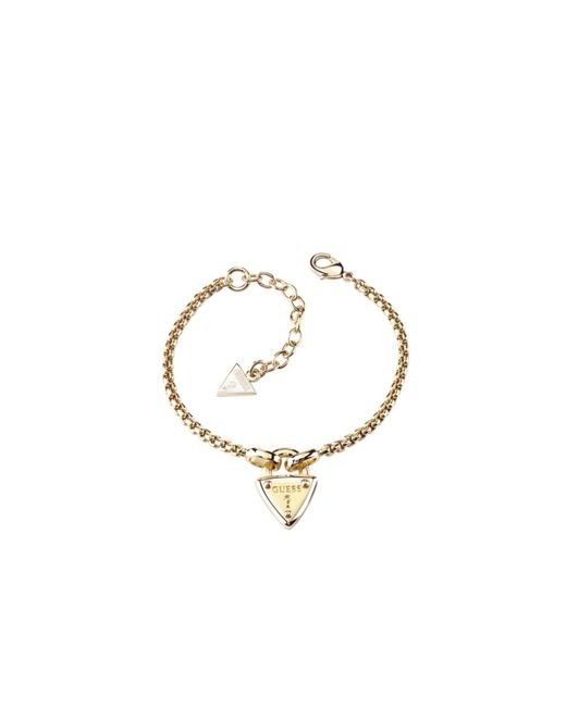Guess | White The Secret Key Logo Triangle Lock Yellow Gold-plated Bracelet | Lyst