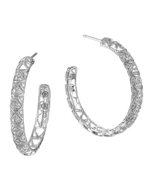 John Hardy | Metallic Naga Silver Diamond Pave Hoop Earrings | Lyst