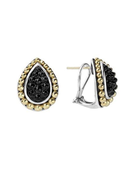 Lagos Black Caviar Stud Earrings In Silver Silver Gold