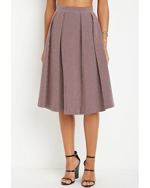 Forever 21 | Purple Contemporary Micro-grid Pleated A-line Skirt | Lyst