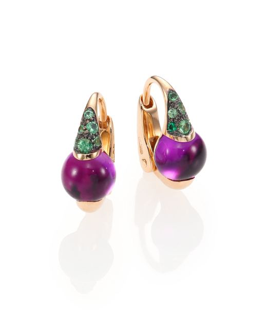 Pomellato | Green M'ama Non M'ama Amethyst, Tsavorite & 18k Rose Gold Leverback Earrings | Lyst