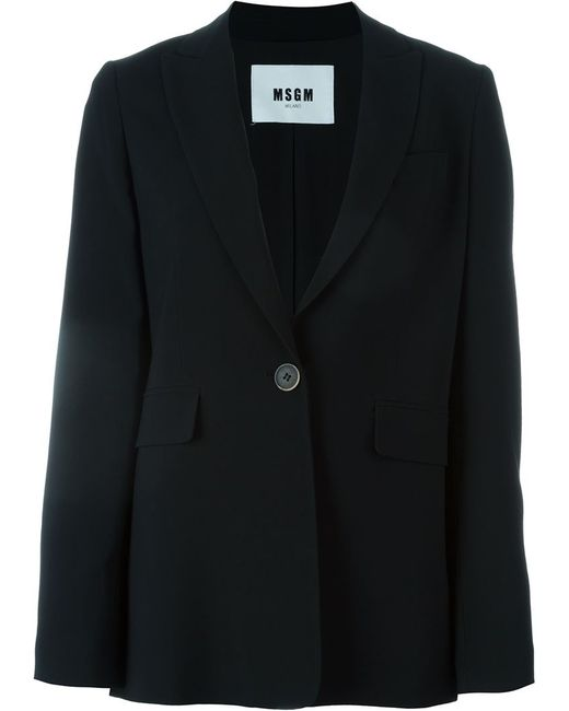 Msgm Single Breasted Crepe Blend Blazer Jacket In Black Lyst