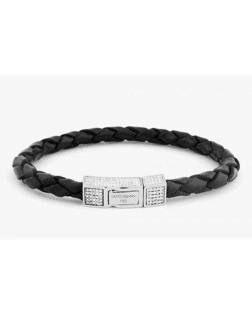 Tateossian | Single Wrap Black Leather Scoubidou Bracelet With White Diamond And 18k Yellow Gold Clasp for Men | Lyst
