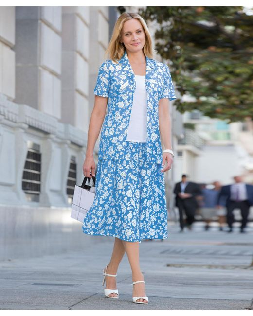 DAMART - Blue Printed Suit - Lyst