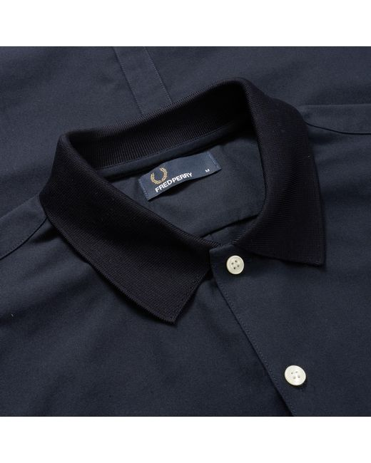 1922f2821 ... Fred Perry Authentic - Blue Knitted Collar Oxford Shirt for Men - Lyst  ...