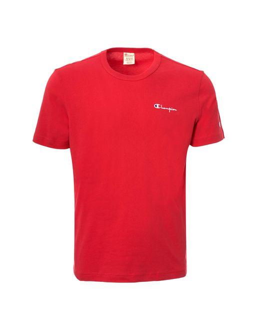 e7229568 Champion - Red Chest Logo T-shirt for Men - Lyst ...