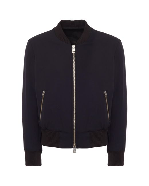 AMI - Blue Zipped Bomber Jacket for Men - Lyst