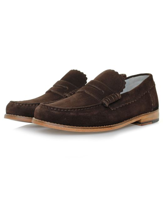 GRENSON | Brown Ashley Chocolate Suede Loafer Shoe 110817 for Men | Lyst
