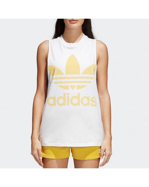 f87695dbfdbd Lyst - Adidas Originals Womens White   Sand Trefoil Tank Top in ...