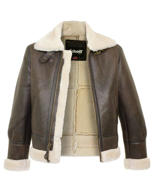 Schott nyc Schott Lc1259 Bombardier Marron Sheepskin Leather ...