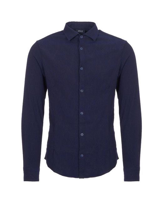 Armani Jeans - Fantasia Blue Camicia Cross Hatch Pattern Shirt for Men - Lyst