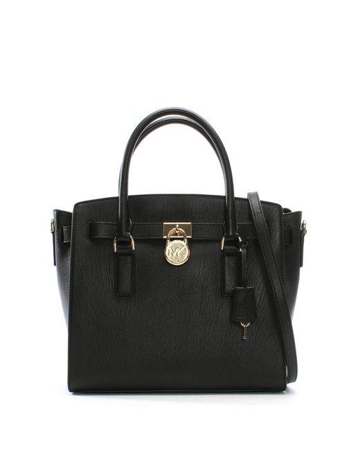 Michael Kors | Hamilton Black Leather Satchel Bag | Lyst