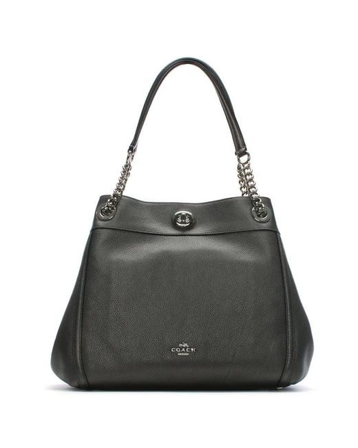 COACH - Gray Turnlock Edie Metallic Graphite Polished Pebbled Leather Shoulder Bag - Lyst
