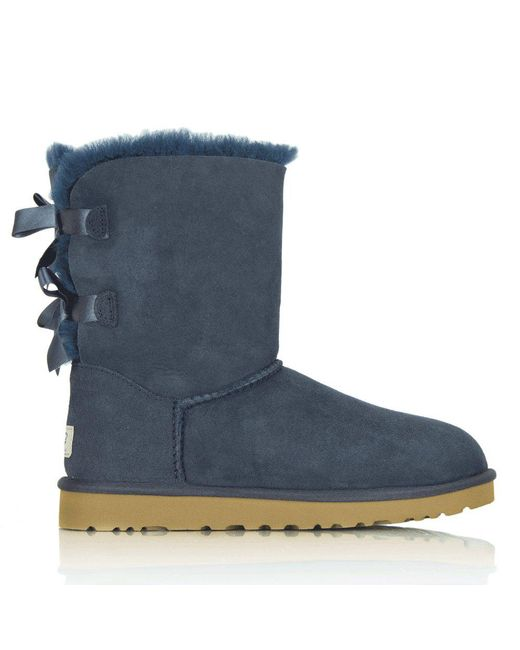 Ugg | Blue Bailey Bow Navy Women'S Flat Boot | Lyst