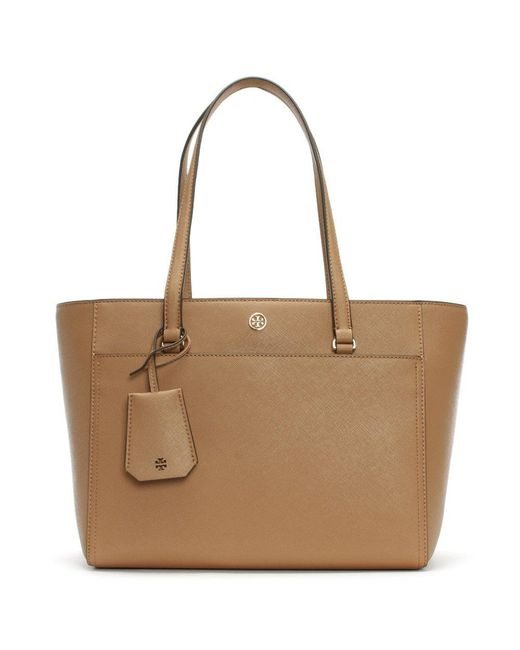 Tory Burch - Brown Robinson Cardamom & Royal Navy Small Tote Bag - Lyst