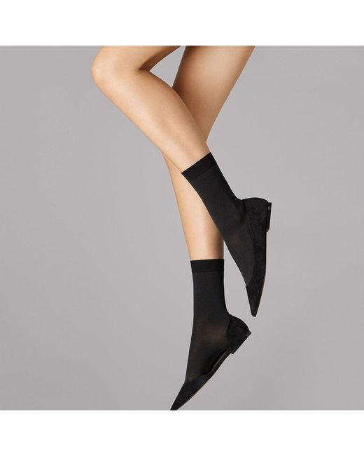 Wolford - Women'S Matt Black Cotton Socks - Lyst