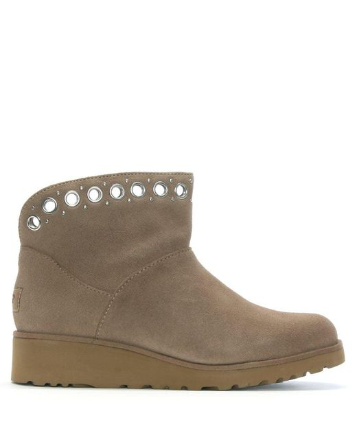 Ugg - Natural Riley Fawn Suede Grommet Mini Boots - Lyst