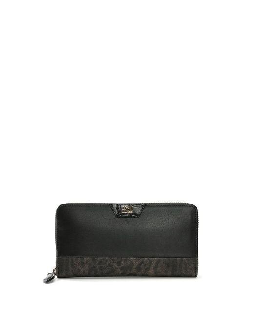 Class Roberto Cavalli - Signature Black Leather Leopard Trim Zip Around Wallet - Lyst