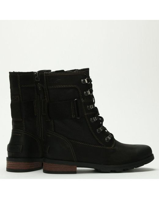 a257fdd6c51 ... Lyst Sorel - Emelie Conquest Black Leather   Coated Canvas Ankle Boots  ...