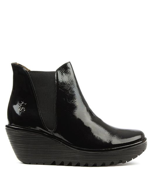 Fly London | Woss Black Patent Leather Wedge Ankle Boot | Lyst