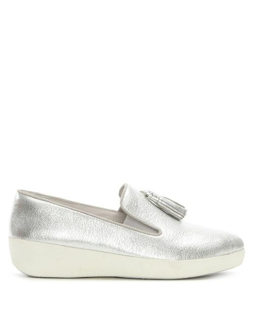 Fitflop | Metallic Tassel Superskate Silver Loafers | Lyst